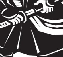 Samurai warrior with katana sword fighting stance Sticker