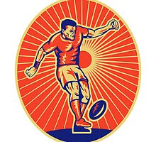 rugby player kicking ball by patrimonio