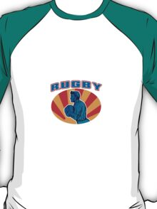 rugby player running ball with text T-Shirt