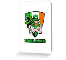 Irish leprechaun rugby player Greeting Card