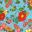 Colorful Retro Floral Collage 2 On Blue-Green Background by artonwear
