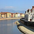 Pisa Riverside View with the church Santa Maria della Spina by kirilart
