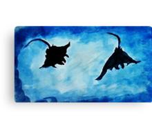 Giant Manta Rays, watercolor Canvas Print