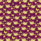 Floral butterflies and hearts spring greens & purple by Sarah Trett