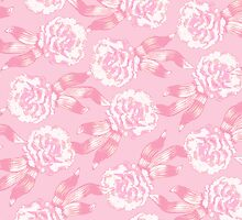 White dianthus carnations on pink by Sarah Trett