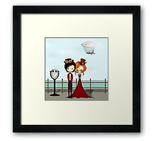 Steampunk Promenade Cartoon Illustration Framed Print