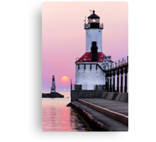 Michigan City Light and Setting Sun Canvas Print