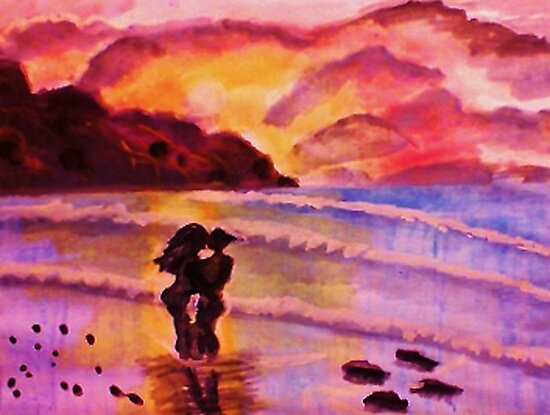 Sunset kiss, watercolor by Anna  Lewis