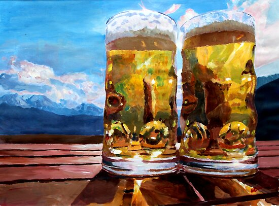 Two Glasses of Beer with Mountains by artshop77