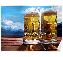 Two Glasses of Beer with Mountains Poster