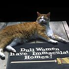 Cat on Dull Women Mat by sally-w