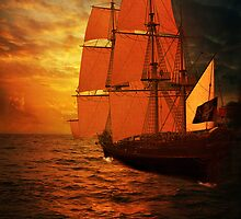 Sun Set Ship  by Smudgers Art