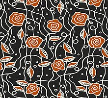 Abstract Cute Retro Floral Pattern-Orange And Gray Tones by artonwear