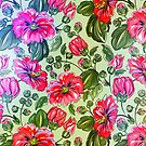 Retro Colorful Flowers Pattern-Pink And Green Colors by artonwear