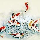 Koi carp (Nishikigo) (Chinese brush art) by Terry Bailey
