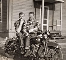 Hans and Bryce Smoking on the Harley (reconstruction) by James Zickmantel