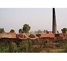 Brick kiln and pile of bricks Photographic Print