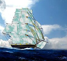 A Cloud of Sails on a Vintage Ship by Dennis Melling