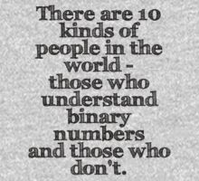 There are 10 kinds of people in the world - those who understand binary numbers and those who don't. by Cyndiee Ejanda