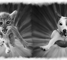 Cat and Dog Oil Painting by minored