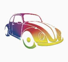 VW Bug hippie color 60's  by thatstickerguy
