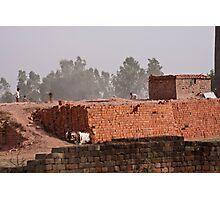 Workers at a brick kiln Photographic Print