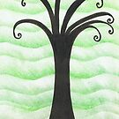 Chalk and Ink Tree - Green is the Colour by Sarah Evans