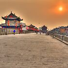 Sunset over Xi&#x27;an city wall by Susan Dost