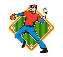 Baseball Player Pitcher Throwing Ball by patrimonio