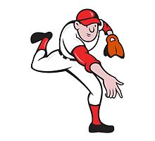 Baseball Player Pitcher Throwing Cartoon by patrimonio