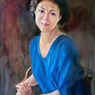 woman in blue dress 7 by Hidemi Tada