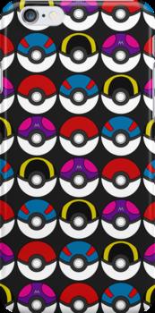 Pokeball Pattern -  Black by RubyTruffles