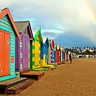 Brighton Bay Beach Sheds by Janette Rodgers