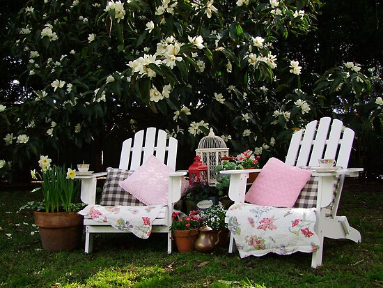 Morning Tea Under The Magnolia Tree by Gabrielle  Lees