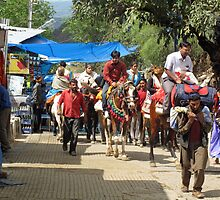 People on horseback and on foot making the climb to the Vaishno Devi Shrine in India by ashishagarwal74