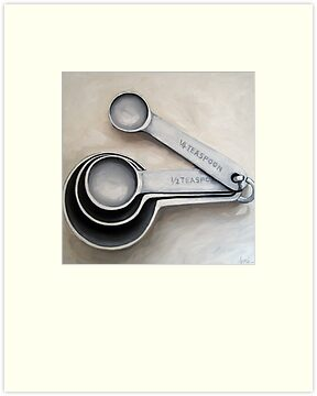 Vintage Measuring Spoons - kitchen art oil painting by LindaAppleArt