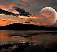 Orange Moon Over an Orange Lake by Jane Neill-Hancock