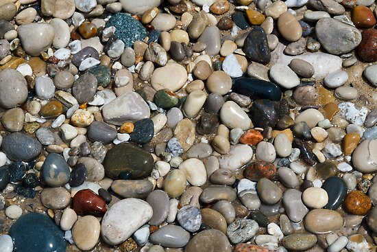 Beach Stones at Pointe Betsie, Michigan by Kenneth Keifer