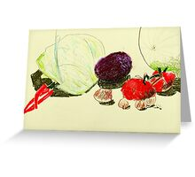 passionfruit and tomatoes Greeting Card