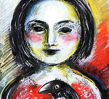 Girl with little crowie. by Tatjana Larina