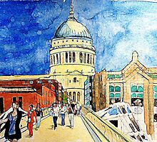 St Pauls Cathedral & Millennium Bridge, Water colour by Emily King