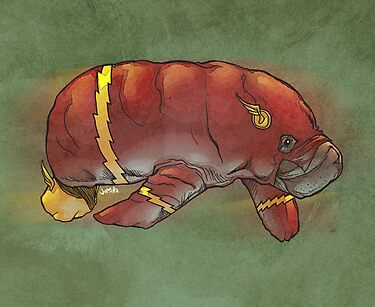 Flash manatee (Flashatee?) by jomiha