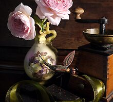 Roses in Serpent Vase by kkmarais