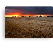 Sunset Through The Rain, Essex (2) Canvas Print