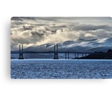 Winter Storm Beyond the Bridge Canvas Print
