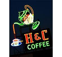 Neon H & C Coffee Photographic Print