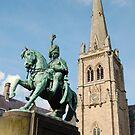 St Nicholas' Church, Durham, and equestrian statue by Ross Sharp