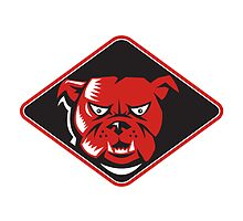 Angry Bulldog Head Front Retro by patrimonio