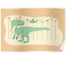 Allosaurus and Anurognathus Poster