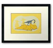 Protoceratops and Shuuvuia Framed Print
